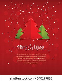Merry Christmas postcard. Vector flat style illustration of New Year three trees with text frame placeholder. Red paper background with stripes and circles for card invitation greeting email template