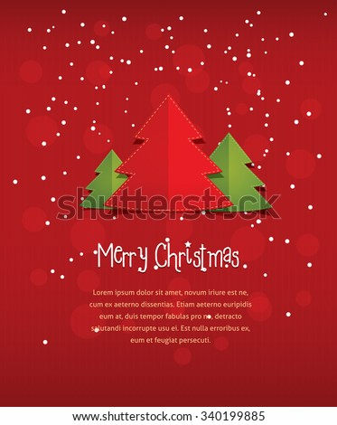Merry christmas postcard vector flat style stock vector royalty merry christmas postcard vector flat style illustration of new year three trees with text frame m4hsunfo