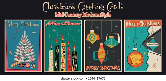 Merry Christmas Postcards, Greeting Cards from the 1950s, 1960s. Mid Century Modern Holiday Posters, Vintage Colors and Shapes
