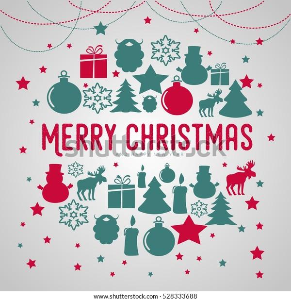 Christmas Poster.Merry Christmas Poster Gold Stars Glittering Stock Vector