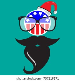 Merry Christmas poster or greeting card design with Santa Claus hat  beard flag and glasses. Vector illustration