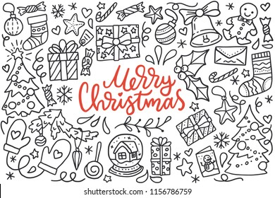 Merry christmas poster with greetings lettering and doodle illustration of new year tree, snowflakes, presents, stockings, decoration balls, gingerbread. Hand drawn black line art, cartoon style.