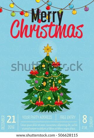 merry christmas poster template christmas invitation stock vector