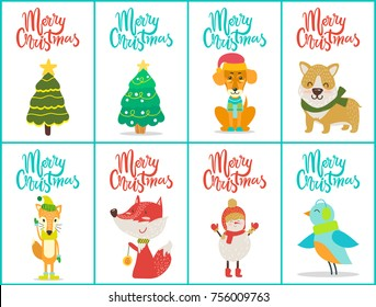 Merry Christmas posters set with evergreen tree that is symbol of holiday dogs and birds, fox and snowman, with titles isolated on vector illustration