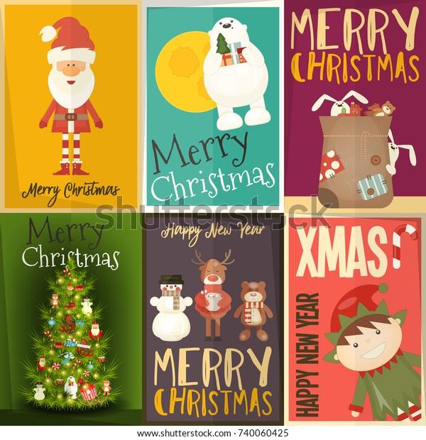 Merry Christmas Posters Set Santa Claus Stock Vector Royalty Free