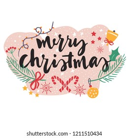 Merry Christmas print. Vector print for cards, wallpaper, gifts, web, textile, wear and others
