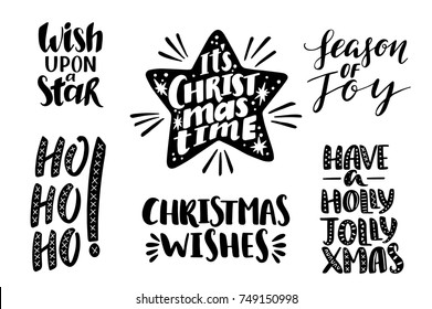 Merry christmas quotes set, vector text for design greeting cards, photo overlays, prints, posters. Hand drawn lettering.