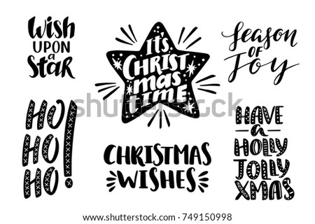 Merry Christmas Quotes Set Vector Text Stock Vector (Royalty Free ...
