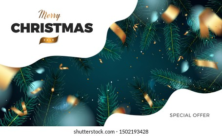 Merry Christmas red background, abstract festive banner with fir tree forest and golden cerpentine 3d vector design