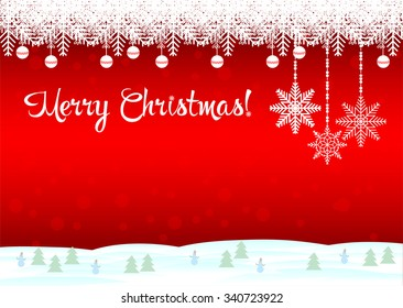 Merry Christmas! The red background is a beautiful snowflakes and snowmen