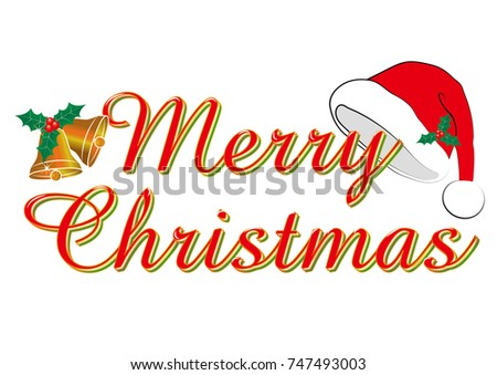 merry christmas red cursive merry christmas logo and santa claus hat bell illustration