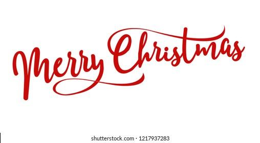 Frohe Weihnachtsschrift auf Rot-Handschrift für Winterferien-Design, Kalligrafie, Vektorgrafik