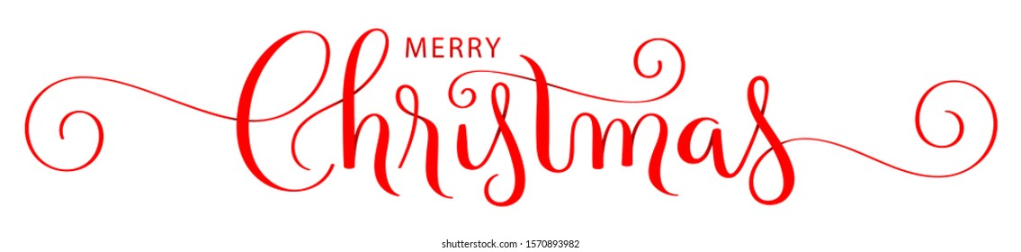 MERRY CHRISTMAS red ribbon-style vector brush calligraphy banner with flourishes