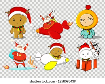 Merry Christmas with red snowflakes and santa claus on the winter background.