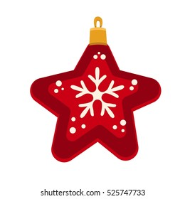 Merry Christmas red star toy with snowflakes, Christmas balls, vector illustration in flat style