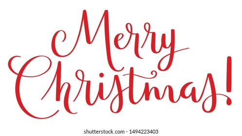 MERRY CHRISTMAS red vector brush calligraphy banner