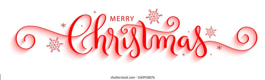 MERRY CHRISTMAS red vector brush calligraphy with flourishes and snowflakes