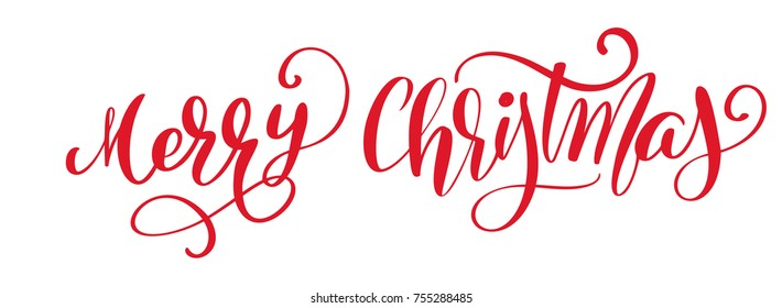 Merry Christmas red vector Calligraphic Lettering text for design greeting cards. Holiday Greeting Gift Poster. Calligraphy modern Font