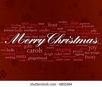 merry christmas in red and white surrounded by lots of holiday words