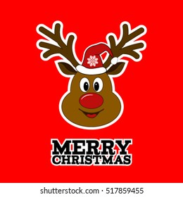 Merry Christmas reindeer with hat. Sticker. rudolph deer.