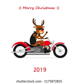 Merry Christmas! Reindeer Rudolph ride the motorcycle. Greeting Christmas card 2019