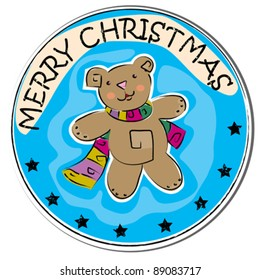 merry christmas retro sticker with a teddy bear wearing scarf isolated on white