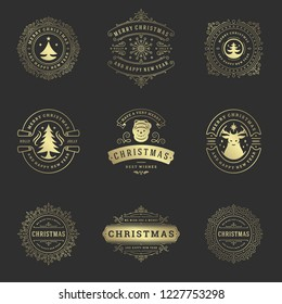 Merry Christmas retro typography vector design elements set. Christmas and Happy New Year quotes labels and badges decoration objects for greeting cards vintage ornaments.