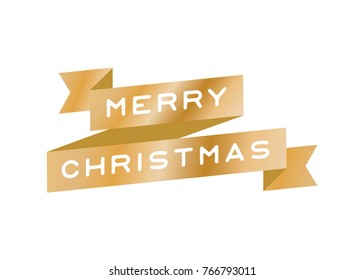 Merry Christmas Ribbon Vector Text Background