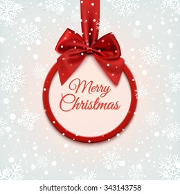 Merry Christmas round banner with red ribbon and bow, on winter background with snow and snowflakes. Greeting card template. Vector illustration.