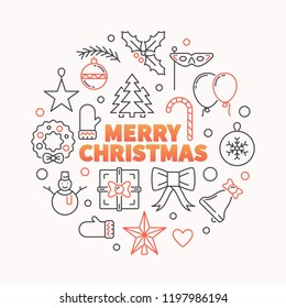 Merry Christmas round vector illustration. Creative xmas greeting card made outline icons in circle shape