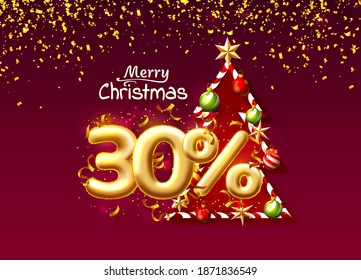 Merry Christmas, sale 30 off ballon number on the red background. Vector illustration