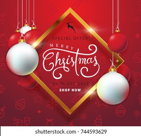 Merry christmas sale background with Christmas ball ornament and icon set pattern.Vector illustration template.