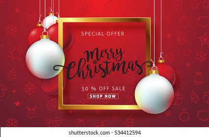 Merry christmas sale background with balls hanging ornament and icon set pattern. Vector illustration.Wallpaper.flyers, invitation, posters, brochure, banners, calendar