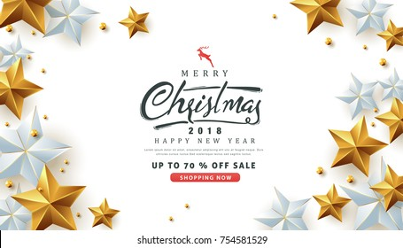 Merry christmas sale background Decorated with Gold and silver Stars.Vector illustration template.
