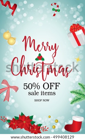 f43e3505c3f6 Merry Christmas sale banner with christmas decoration.Banner.Vector  illustration