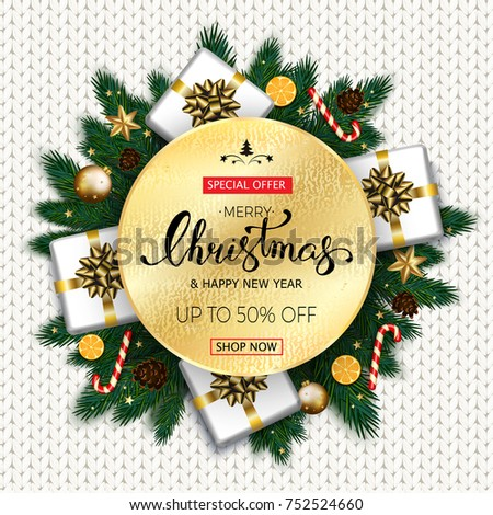 Merry christmas sale banner fir tree stock vector royalty free merry christmas sale banner with fir tree gift candy canes on white knitted background m4hsunfo