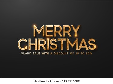 Merry Christmas Sale. Banner, poster, logo golden color on black background