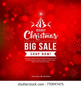 Merry Christmas sale concept design with snowflake on red background, vector illustration