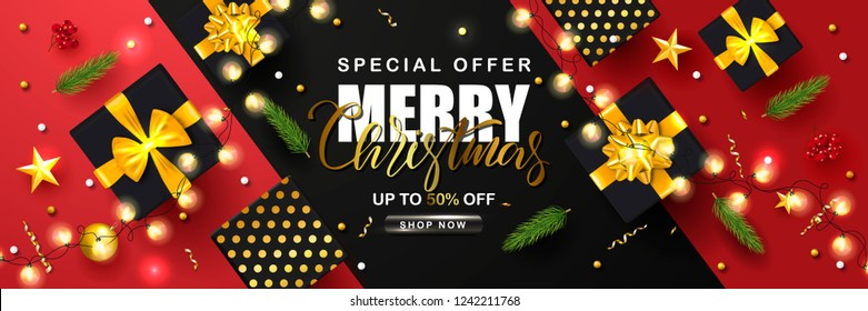 Merry Christmas Sale poster with serpentine,garland, fir branches, gift boxes, Rowan and gold stars. Vector illustration. Design for invitation, banners, ads, coupons, promotional material.