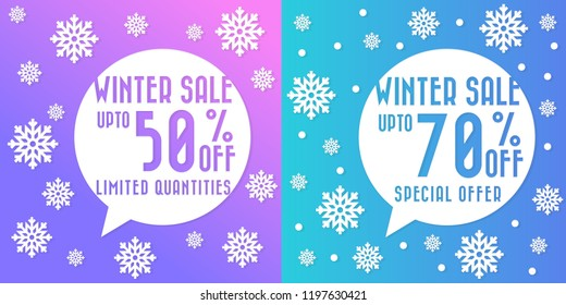 Merry Christmas sale poster with stylized white snowflakes, vector illustration