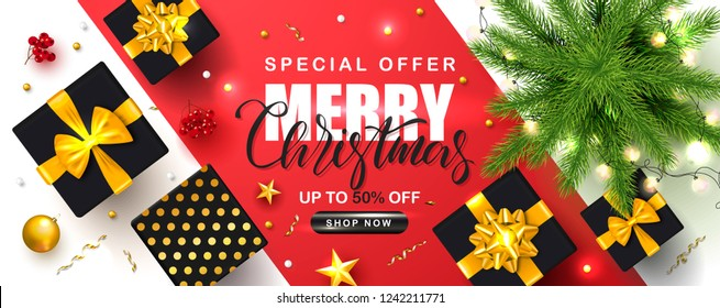 Merry Christmas Sale poster with Christmas tree, garland, gift boxes, serpentine, Rowan and gold stars. Vector illustration. Design for invitation, banners, ads, coupons, promotional material.