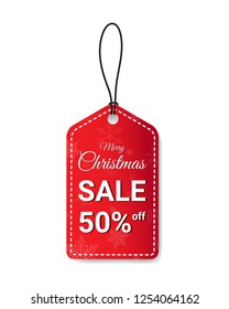Merry Christmas sale red tag discount 50 percent vector banner design with snowflakes for use to your business website or shop isolated on white background.