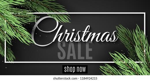 Merry Christmas sale. White frame. Christmas tree. Christmas sale banner. Web banner for your advertising design. Vector illustration. EPS 10
