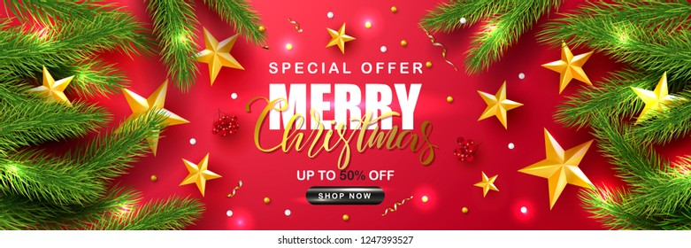 Merry Christmas Sale.Universal vector red background with fir branches, Rowan, stars and serpentine. Suitable for promotional materials, postcards,posters banners, flyers. Modern design.