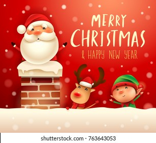 Merry Christmas! Santa Claus in the chimney. Santa Claus, Reindeer and Elf in snow scene. Winter landscape.