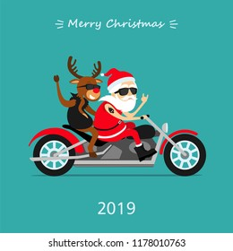 Merry Christmas! Santa Claus and deer Rudolph ride the motorcycle. Greeting Christmas card 2019