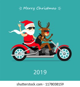 Merry Christmas! Santa Claus and deer ride the motorcycle. Greeting Christmas card 2019