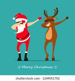 Merry Christmas! Santa Claus and deer Rudolph dancing dab move. Greeting Christmas card 2019
