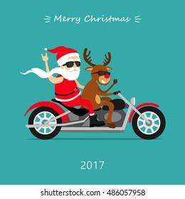 Merry Christmas! Santa Claus and deer ride the motorcycle. Santa biker, Santa's deer Rudolf biker. Greeting Christmas card 2017