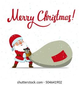 1e24b3778bc64 Merry Christmas! Santa Claus dragging big sack of gifts. Holiday art. Vector  illustration